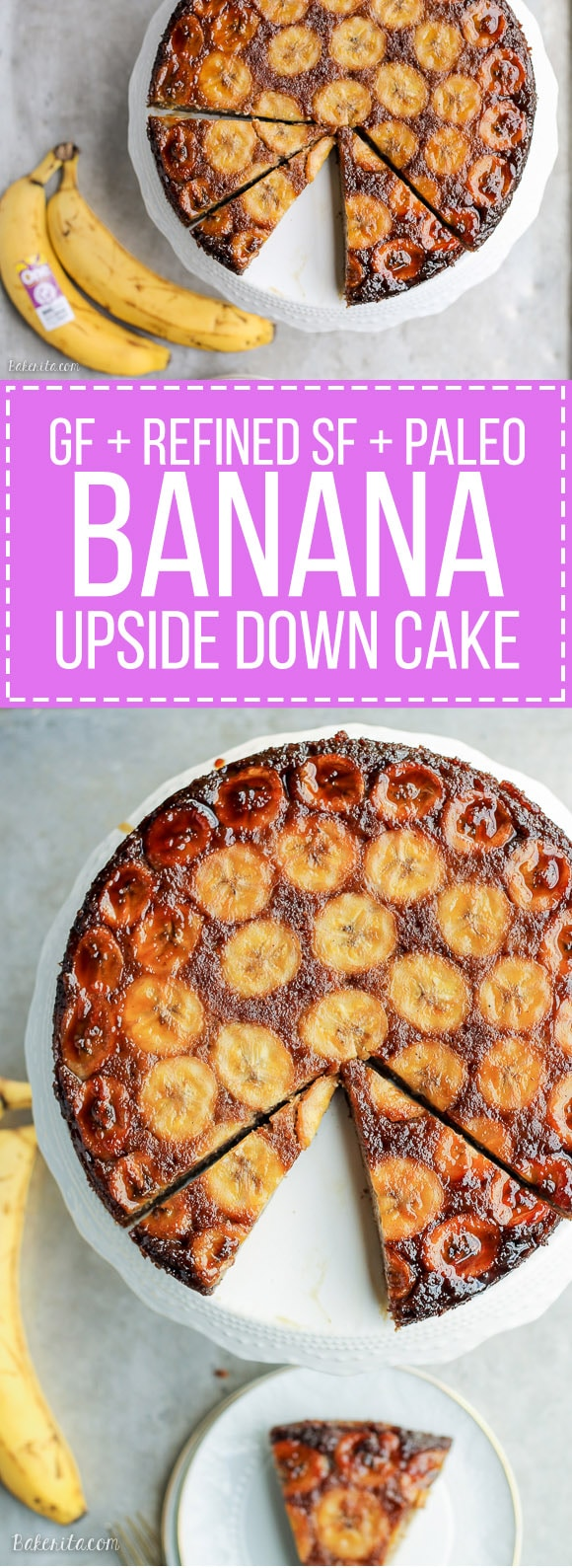 This Paleo Banana Upside Down Cake is an impressive and delicious cake that's gluten-free and refined sugar free. Sweetened almost entirely with bananas, this is a banana lover's dream!
