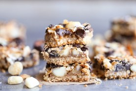 Dark Chocolate Macadamia Nut Magic Bars (Gluten Free, Paleo + Vegan)