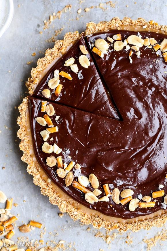 Chocolate Peanut Butter Tart with Pretzel Crust (Gluten ...