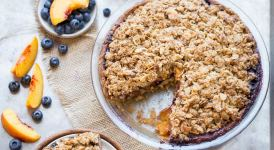 Blueberry Nectarine Pie with Almond Crumble (Gluten Free + Refined Sugar Free)