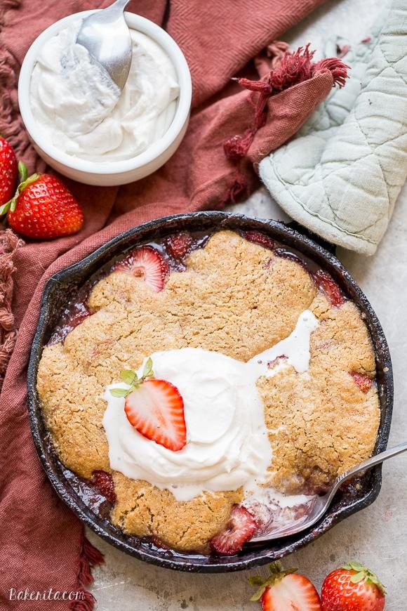 Strawberry Cobbler (Gluten Free, Paleo + Vegan) - Bakerita
