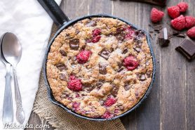 Raspberry Chocolate Chunk Skillet Cookie (Gluten Free +  Paleo)