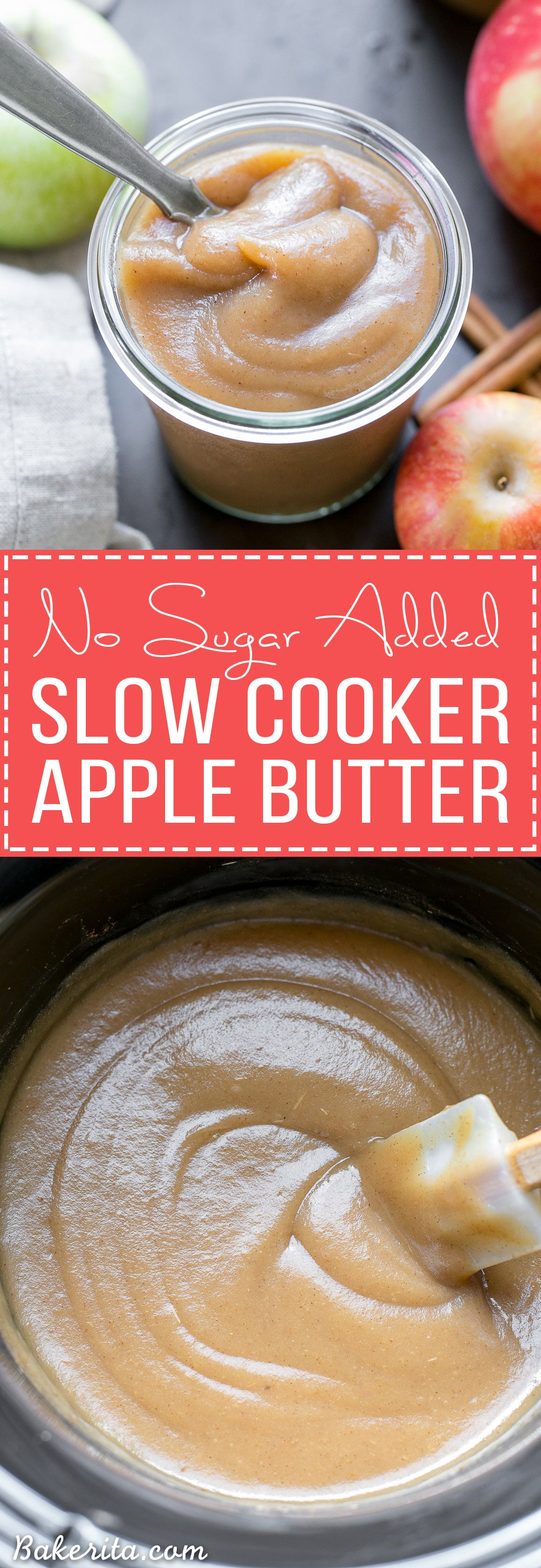 Slow Cooker Apple Butter (No Sugar Added) - Bakerita