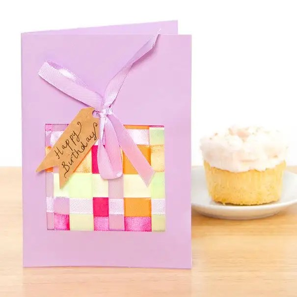 Woven Ribbon Birthday Card Free Craft Ideas Baker Ross