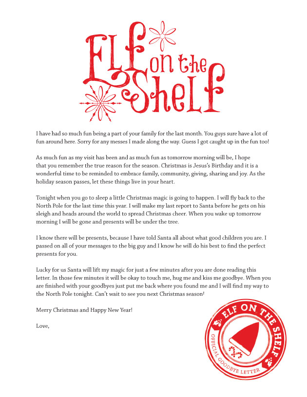 Printable Elf On The Shelf Goodbye Letter Elves, Shelves and Shelf - copy sample letter requesting meeting room