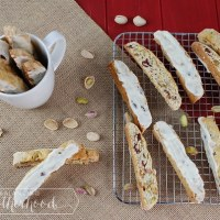 Dried Cherry and Pistachio Biscotti with White Chocolate