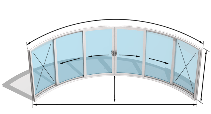 curved patio doors model w6