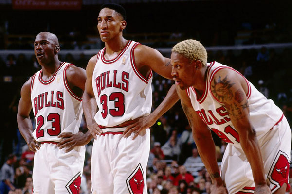 1990s - Michael Jordan, Scottie Pippen and Dennis Rodman