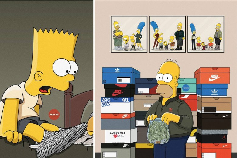 The Simpsons Imagined As Sneakerheads on cartoon characters wearing yeezys