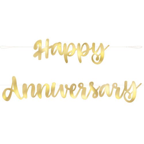 Happy Anniversary Gold Foil Script Banner (1)