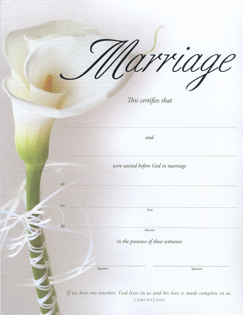 Calla Lily Keepsake Marriage Certificate - marriage certificate template