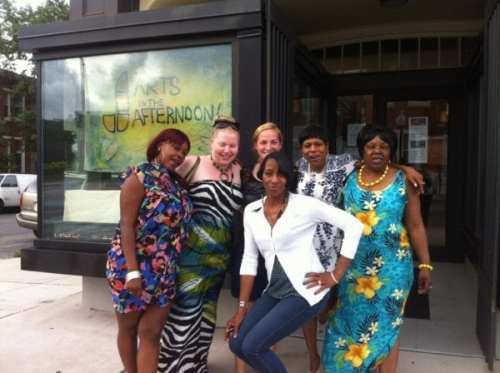Johns Hopkins sophomore Frances Loeb (back, center) interns at Martha's Place in West Baltimore. Photo courtesy JHU.
