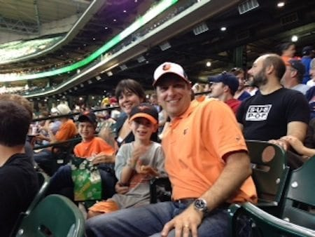 The Schapiro family show their true colors at an Astros game. Photo courtesy Robert Schapiro