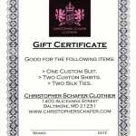 Gift Certificate for Christopher Schafer Custom Clothier - Dress Your Man!