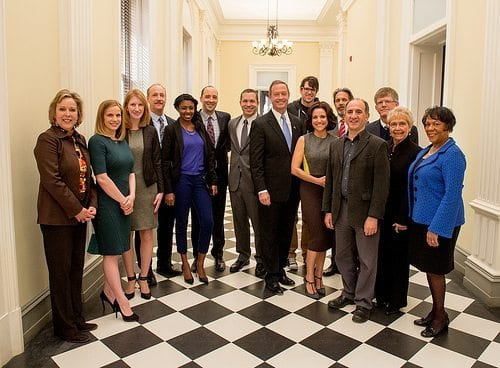 Governor Martin O'Malley schmoozes with the cast of Veep