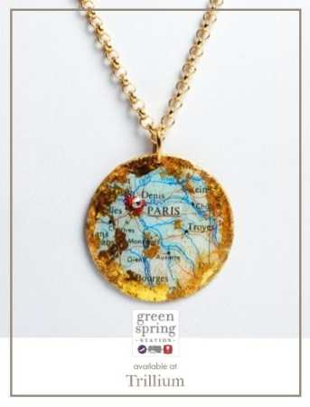 Evocative Travels Paris Pendant, available at Trillium. #GreenSpringStyle #Pendant #GreatGifts #Jewelry