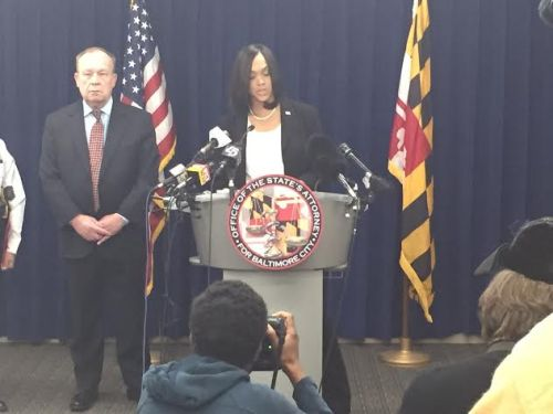State's Attorney Marilyn Mosby announces the charges against Cook.