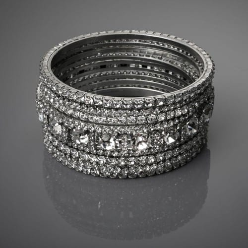 "Set of nine stacked bangles by Tejani  (1½"" total width)- rows of stones set in brass with rhodium plating and a silver finish. - Francesca's Atelier"