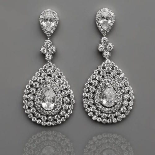 Statement earrings by Tejani,  with a classic chandelier look and faceted teardrop crystals. - Francesca's Atelier