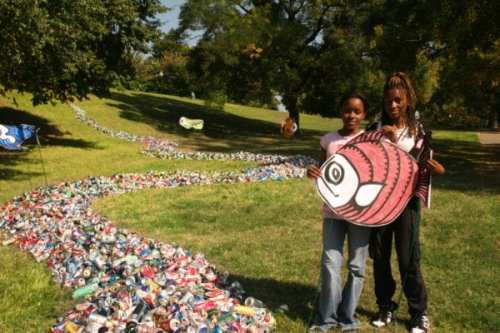 """This Earth Day, a new River of Recycling will be flowing on the Johns Hopkins University """"beach."""""""