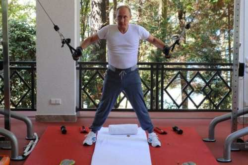 Vladimir Putin attempts to attain eternal youth through exercise