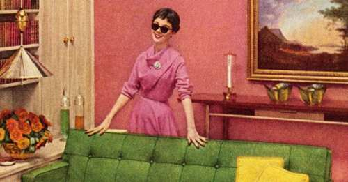 Woman In Sunglasses Standing Behind Couch