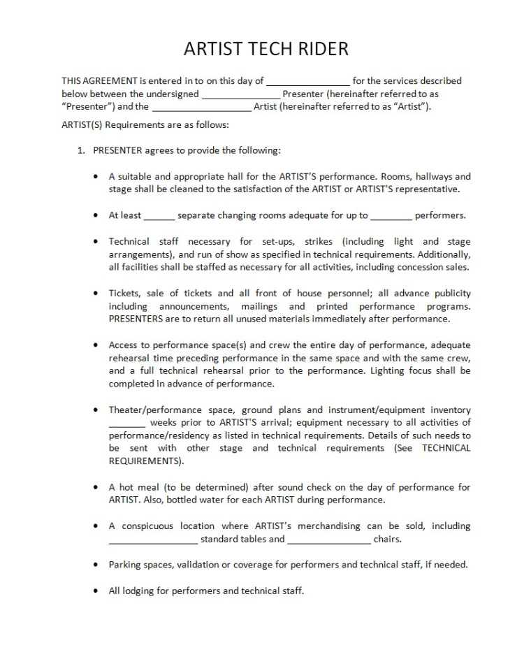 Performance Agreement Contract Forbes Contract Four Up Artist - music contract templates
