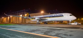 Singapore Airlines' first Airbus A350-900 exits Airbus paint shop. Airbus photo.