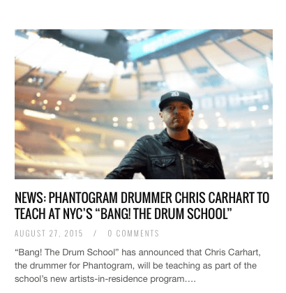 Modern Drummer writes about Phantogram's Chris Carhart and BANG!