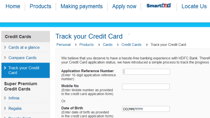 hdfc credit card status