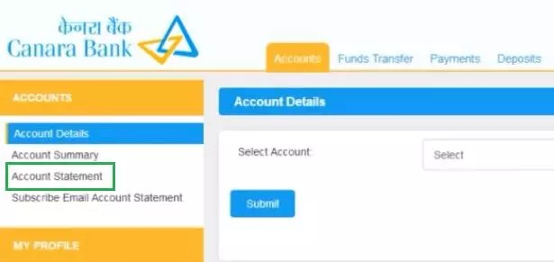 How to Download Canara Bank Account Statement Online