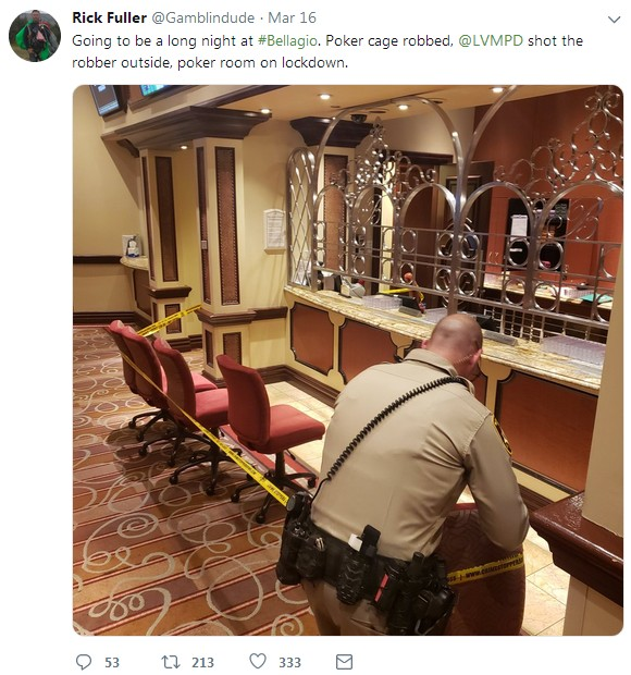 Bellagio Poker Room Robbed Again - Officer Injured, Suspect Dies