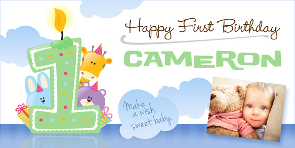 Custom Birthday Banners For Kids Ages 1-3 Banner Envy » Banner Envy - first birthday banner