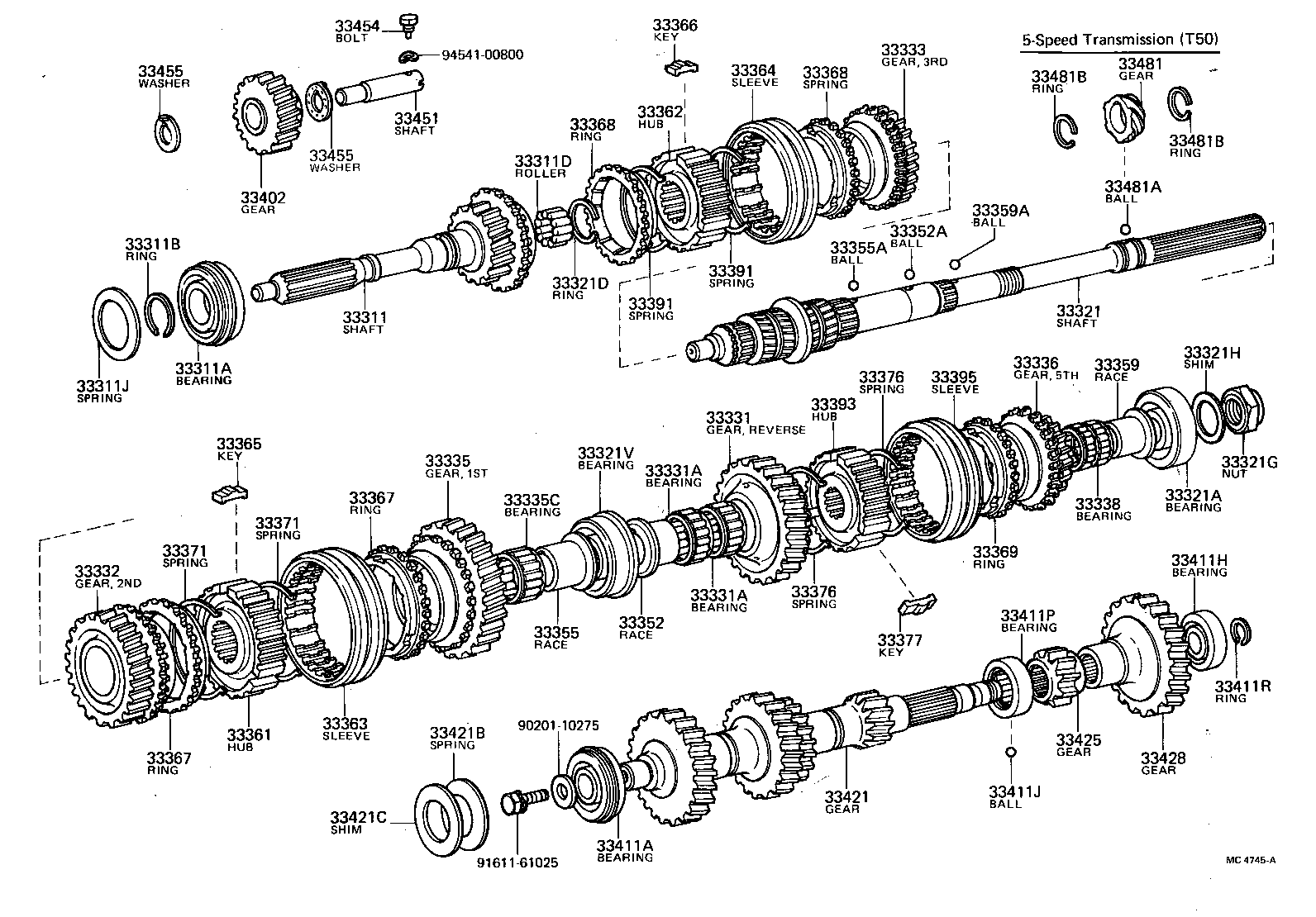 toyota manual transmission parts diagram