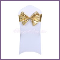 Gold metallic stretch chair sash with Bow-Tie [sp3cs_btH1 ...