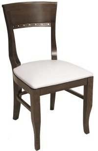 Biedermeier Wood Restaurant Chair Upholstered Seat