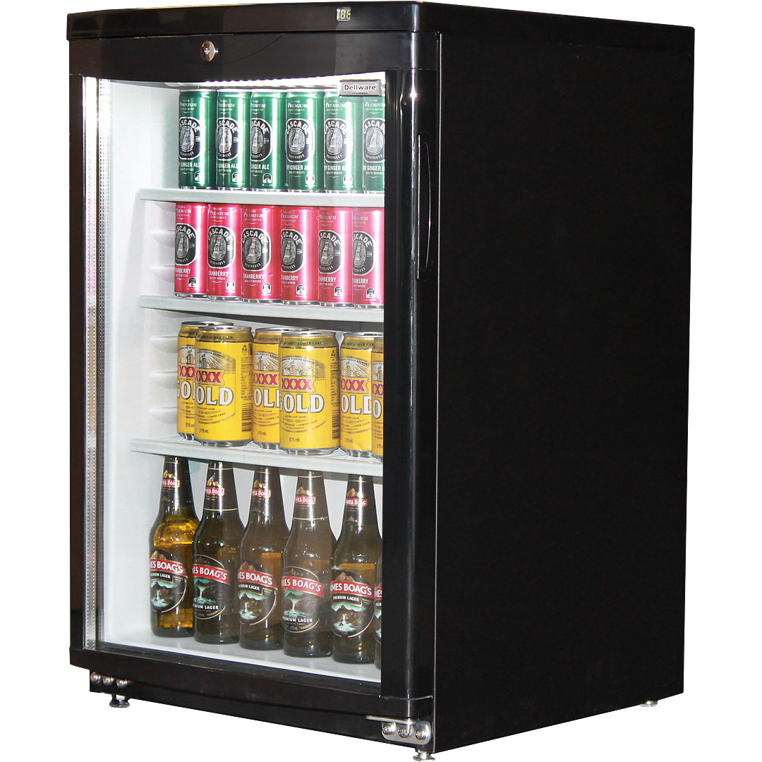 Glass door bar fridge with curved glass dellware brand