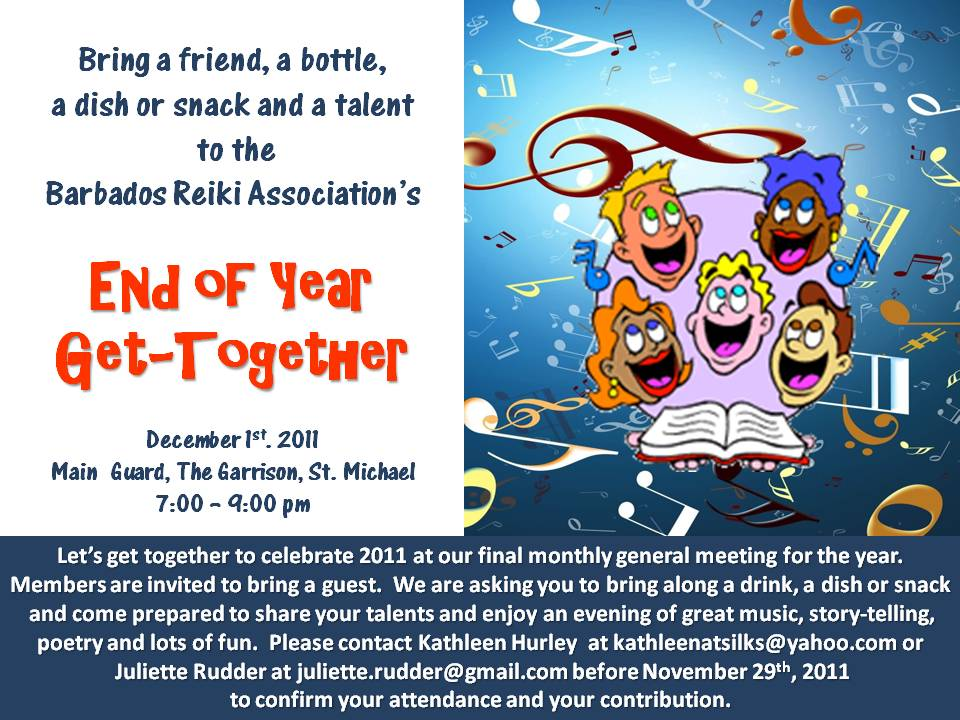 Barbados Reiki Association\u0027s End of Year Get Together - Dec 1st - invitation for a get together