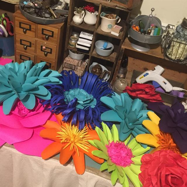 My work table has never been more colorful! paperflowers giantpaperflowerhellip