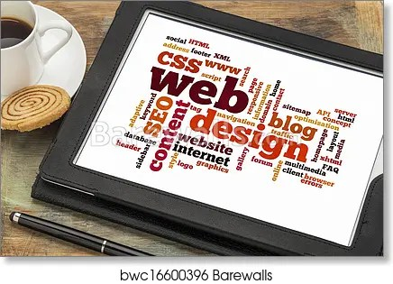Web design word or tag cloud, Art Print Barewalls Posters  Prints