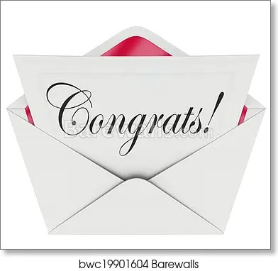 Art Print of Congrats Note Open Letter Card Envelope Congratulations