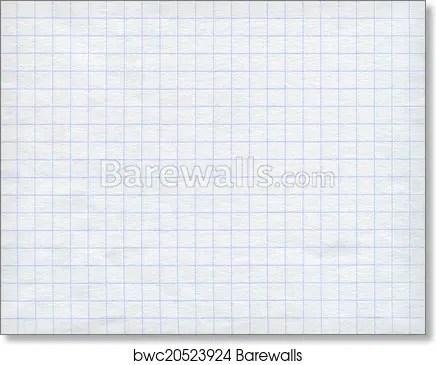 Art Print of Blue graph paper on white background Barewalls