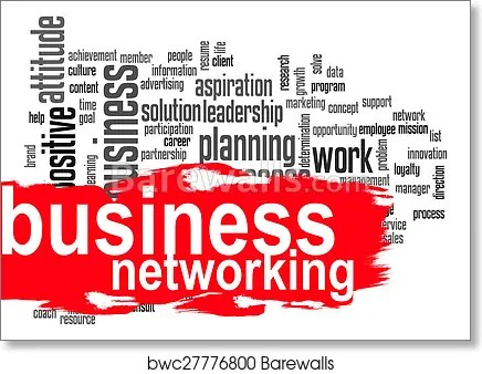 Art Print of Business networking word cloud with red banner