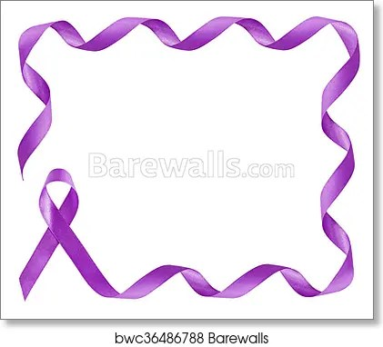 Art Print of Pancreatic Cancer Awareness Purple Ribbon frame with - purple ribbom