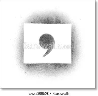 Art Print of Stencil symbols in spray paint - comma Barewalls