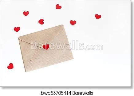 Art Print of Valentines day or wedding mockup scene with envelope
