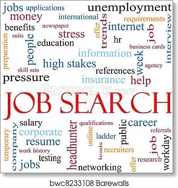 Art Print of Job Search Word Cloud Concept Barewalls Posters
