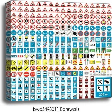 Canvas Print of Three hundred fully editable vector european traffic
