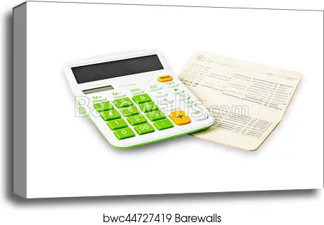 Canvas Print of Calculator and saving account passbook Barewalls