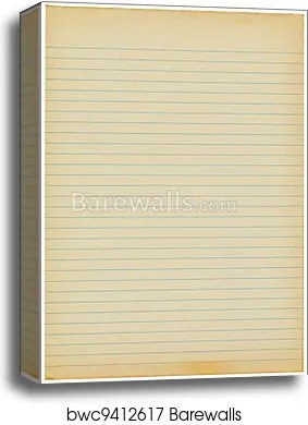 Old yellowing lined blank A4 paper isolated, Canvas Print